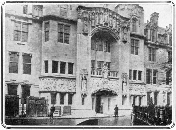 Decorated with a frieze showing Henry III granting a charter to Westminster, the fine entrance to the Middlesex Guildhall, built between 1906 and 1913, in style described by the architectural historian Nikolaus Pevsner as art nouveau gothic