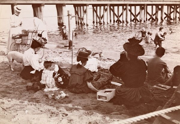 Bathing, Midland Beach. Women and children seated on beach with a baby carriage. - Midland Beach (New York, N.Y.) | Staten Island (New York, N.Y.) | New York (N.Y.)