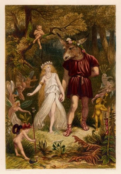 "Act IV, Scene I Bottom & Titania; T: ""Come, sit thee down upon this flowery bed/While I thy amiable cheeks do coy,&quot"