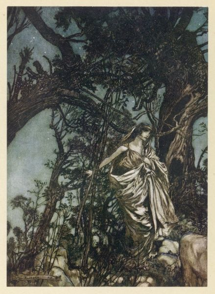 Act II, Scene II Hermia finds herself lost in the wood after having been deserted by Lysander Date: 1909