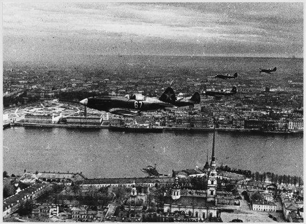 MIG-3 fighters patrol the city's airspace - the Peter Paul Fortress is in the foreground