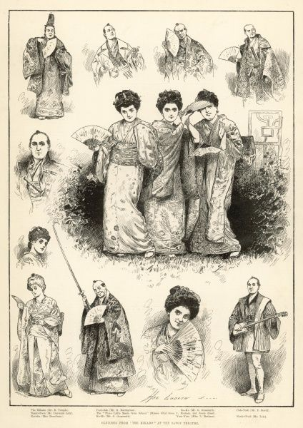 Sketches from 'The Mikado' at the Savoy Theatre in London: The Mikado (Mr R. Temple), Nanki-Pooh (Mr Durward Lely), Katisha (Miss Brandram), Pooh-Bah (Mr R. Barrington), The 'Three Little Maids from School' (Misses Sibyl Grey L