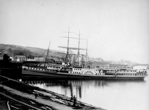 View of Milford Dock, Pembrokeshire, South Wales, with the paddle steamer Triton