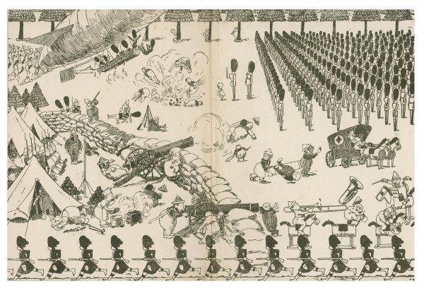 Illustration 2/2 A comical cartoon showing a battle between toy soldiers and what look like elves or pixies who are defending their camp
