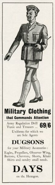 Advert for Dugsons in South Africa for Military Clothing that Commands Attention, and for military accessories such as eagles, propellers, chevrons and khaki shirts
