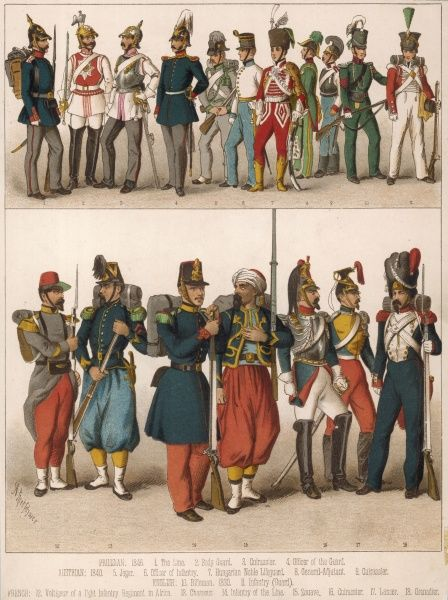 Assorted soldiers: 1-4 Prussian 1846 5-9 Austrian 1840 10-11 English 1830 12-18 French