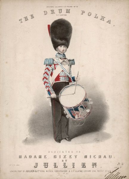 A military drummer boy in a rather imaginative- looking uniform