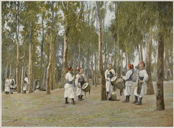 Drummers of the French Armee d'Afrique at practice