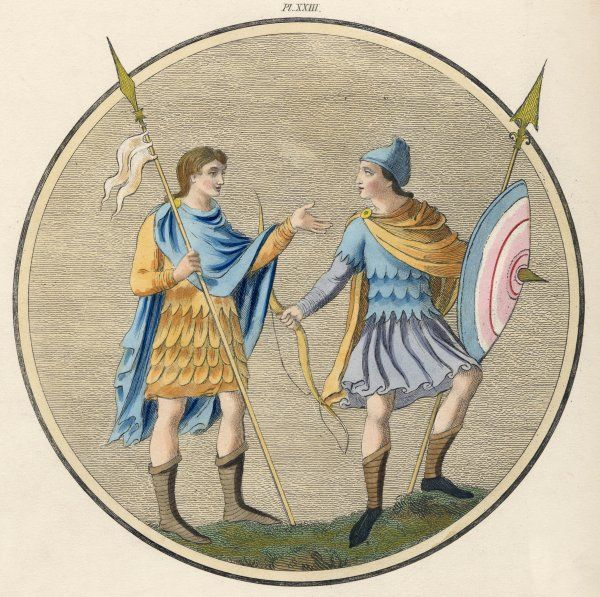 Anglo-Saxon soldiers in military habits
