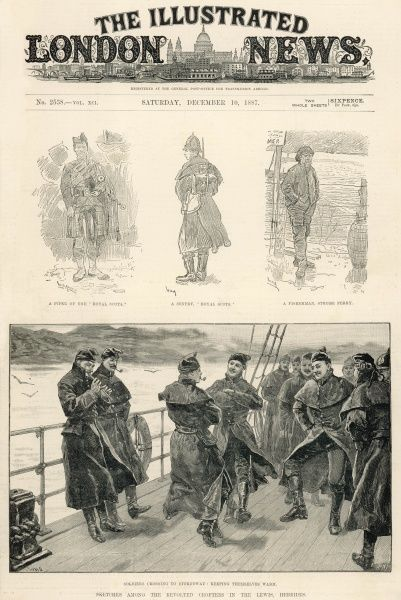 "A page from the Illustrated London News, reporting on the measures to crush the rebellion on the isle of Lewis, titled ""Sketches among the revolted crofters in the Lewis, Hebrides"