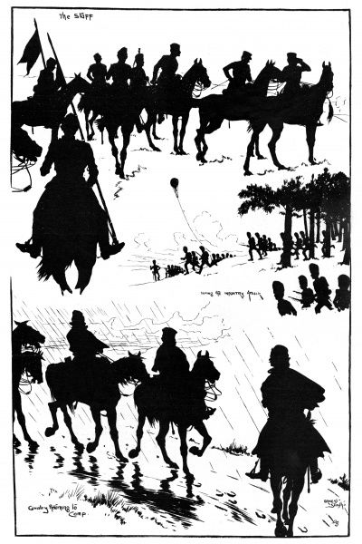 Three silhouette scenes showing the staff on horseback, during the infantry attack, and the cavalry returning to camp. Date: 1898