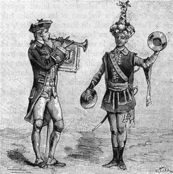 Men play cymbals and an oboe during the reign of Louis VX of France. Date: 18th century