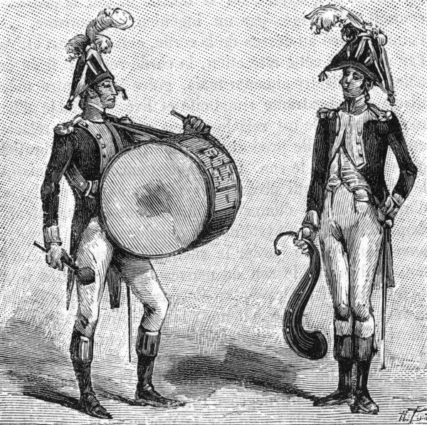Musicians of the Imperial Guard-a drummer and a serpent player at the time of the First Empire. Date: early 19th century