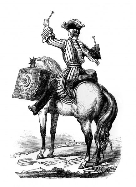 A French military drummer on horseback, as viewed from behind. Date: 1724