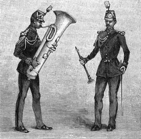 Two musicians of the republican guard playing the clarinet and saxhorn. Date: 1889