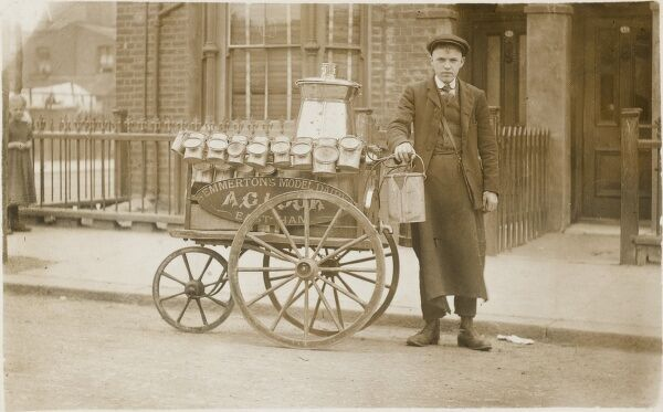 A three-wheeled handcart, used to deliver milk in the East End of London