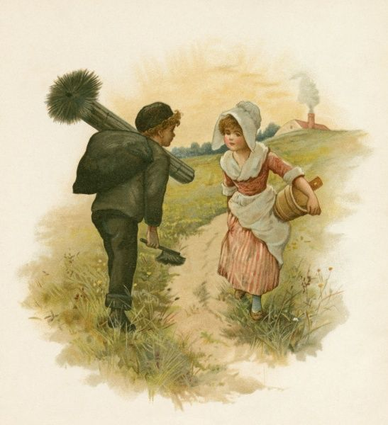 A little milkmaid and a little chimney sweep stop to talk in a field