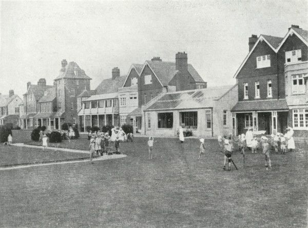 Children and nurses outside the Millfield Seaside Home at Rustington, Littlehampton, Sussex