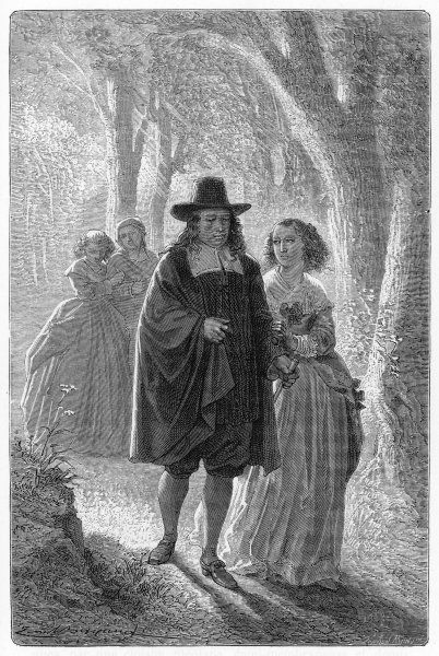 John Milton, blind, he walks with his daughters