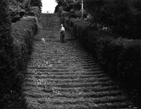 This grass slope is probably the most remarkable in England, consisting of 111 green steps, leading up to a Saxon chapel, at Milton Abbas, Dorset. Date: 1950s
