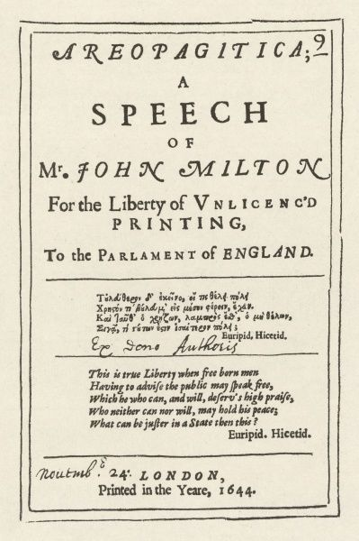 A speech of John Milton for the Liberty of Unlicenc'd Printing' - title page of the original edition