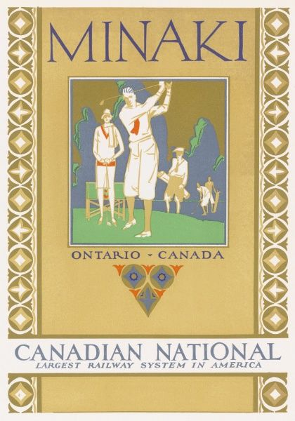 Reproduction of a booklet cover design for the Canadian National Railways Holiday Resort, located in Minaki, Ontario, showing male and female golfers