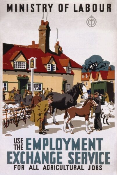 Poster for the Ministry of Labour, encouraging people to use the Employment Exchange Service for all agricultural jobs