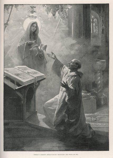 Thomas a Becket, archbishop of Canterbury, in exile at Sens, is visited by the Virgin Mary who gives him some oil which has been used ever since at English coronations