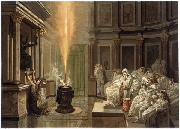 When a mysterious flame bursts out in the temple of fertility goddess Bona Dea, the Vestal Virgins interpret it as a portent favorable to Cicero ; but it is probably a trick