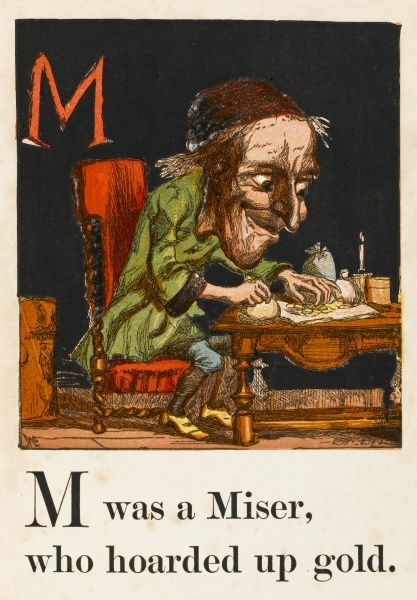 A miser counting his money