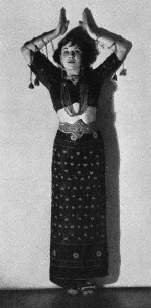 Miss Clelia Matania, dressed in the costume of an Arabian dancer. She was the daughter of the Sphere's special artist, Matania. 1934