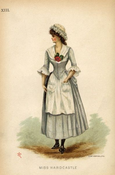 Fancy dress costume suggesting the character of Miss Hardcastle from She Stoops to Conquer by Oliver Goldsmith. The outfit comprises of a short skirt of olive green made plain and worn with high heeled shoes to match