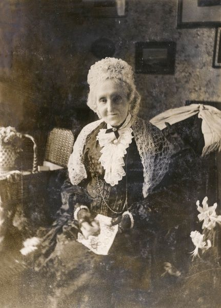 Miss Hensley of Bath, photographed on her 103rd birthday, having received a telegram of congratulations from the King
