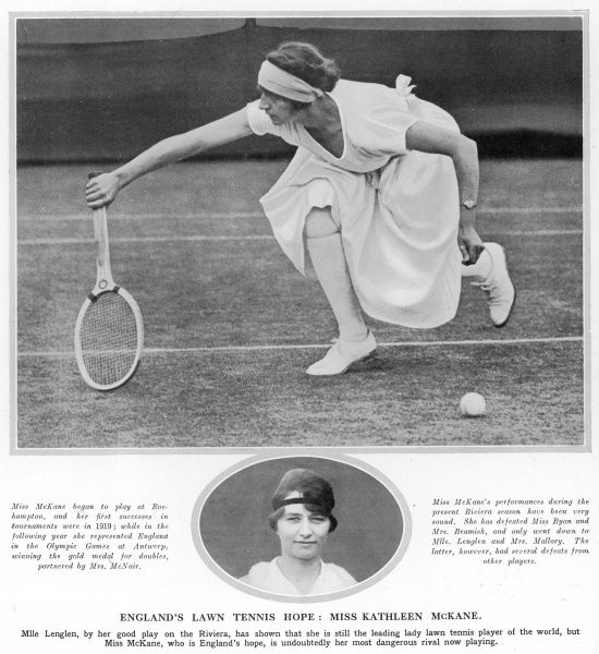 Miss Kathleen McKane (Kitty McKane Godfree) (1896-1992), tennis player, England's lawn tennis hope, and rival to the French player, Suzanne Lenglen