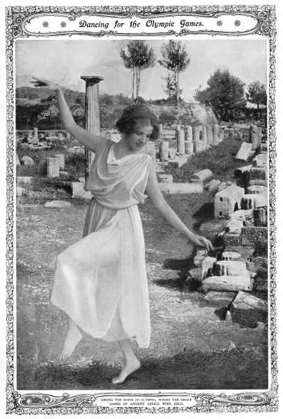 "Dancer Miss Maud Allan ""transported"" to the ruins of Olympia in a photograph for the Sketch. She had recently performed in a special matinee in aid of the entertainment fund for Olympic athletes. Date: 1908"