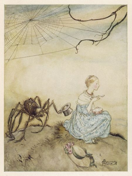 Litle Miss Muffet eating her curds and whey unaware that there is an enormous spider, with a hat, creeping up behind her
