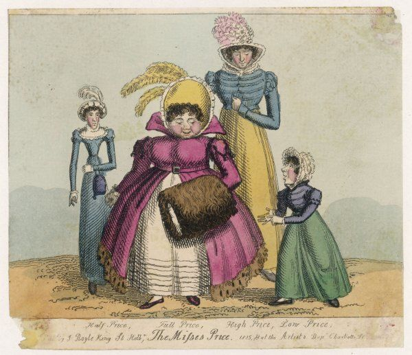 The Misses Price: half, full, high & low! Costume includes: spencers, a fur-trimmed pelisse, feather trimmed bonnets, reticule & a fur muff