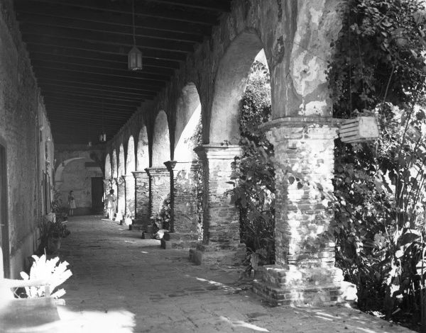 The ruins of the Mission at San Juan Capistrano, southern California, U.S.A., badly damaged by an earthquake. Date: 1960s