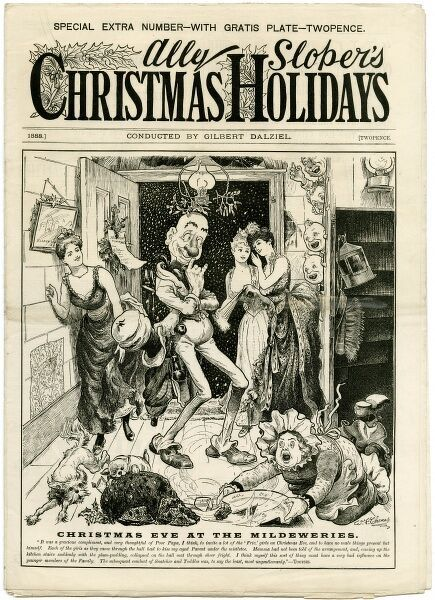 Ally Sloper invites some young ladies round to test out the mistletoe; his wife is so shocked, she drops the plum pudding