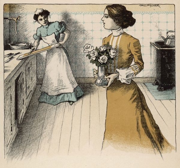 mistress and maid in the kitchen