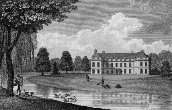 A child is excited by a dog who is excited by a flock of ducks at Mitcham Grove, formerly in Surrey but now incorporated in London -- the seat of Henry Hoare Esquire. Meanwhile gardeners keep the grass down. Date: 1788