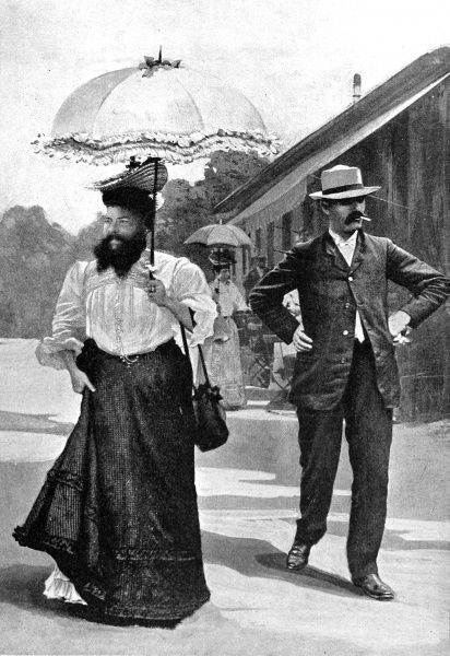 Photograph showing Mme. Delait, the bearded lady, with her husband, on her way to greet the German Emperor at La Schlucht, 1908