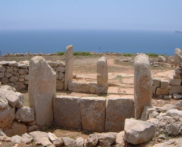 The entrance to one of the chambers of the Mnajdra temples at Wied iz-Zurrieq in south-west Malta, dated to circa 2500 BC