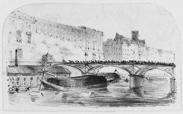 The crowd surges over the Pont des Arts as the Louvre and Tuileries fall into the hands of the insurgents