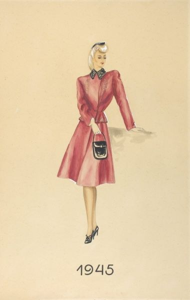 Mode chart, 1945 - Model with suit and handbag. Date: 1945
