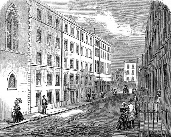 Engraving showing the exterior of a Model Lodging house (centre, left), built by the 'Society for Improving the Condition of the Labouring Classes' in St. Giles's, 1847