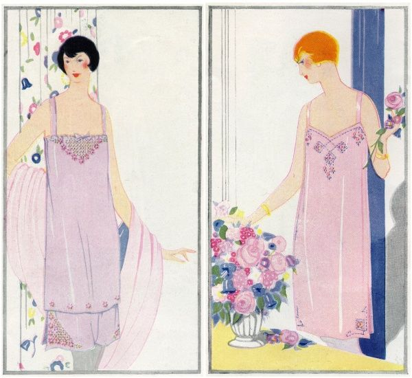 Two models in elegant negligees, mauve and pink.  1923