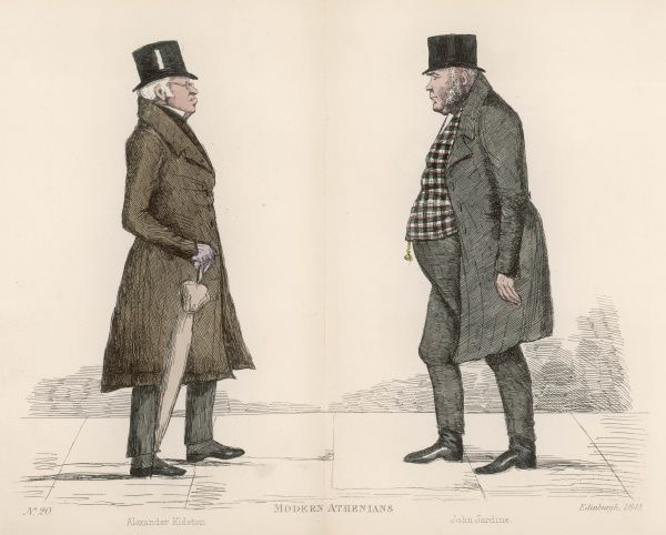 Mr Alexander Kidston (1762-1850) approaching Mr. John Jardine (1777-1850), Sheriff of Ross and Cromarty, on the streets of Edinburgh