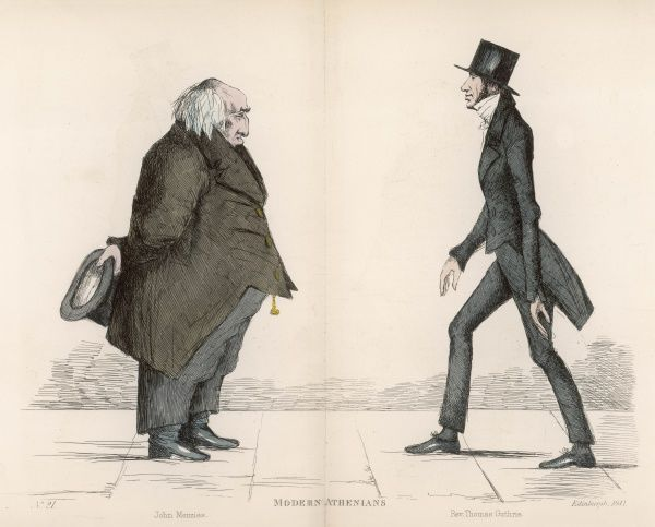 John Menzies (d. 1843) of Pitfodels, being approached by Rev. Thomas Guthrie (1803-1873) of Old Greyfriars Church, Scottish churchman and philanthropist, promoter of the 'ragged schools&#39