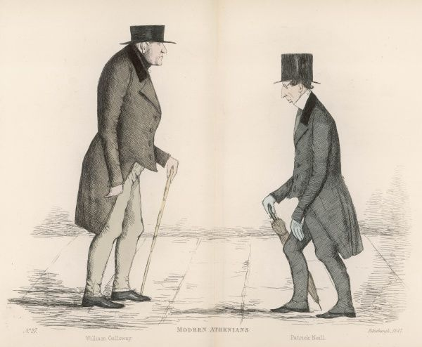 William Gallaway (d. 1851) accountant, approaching Patrick Neill (1776-1851) a printer, florist, gardening author, naturalist and 'useful citizen' Date: 1847